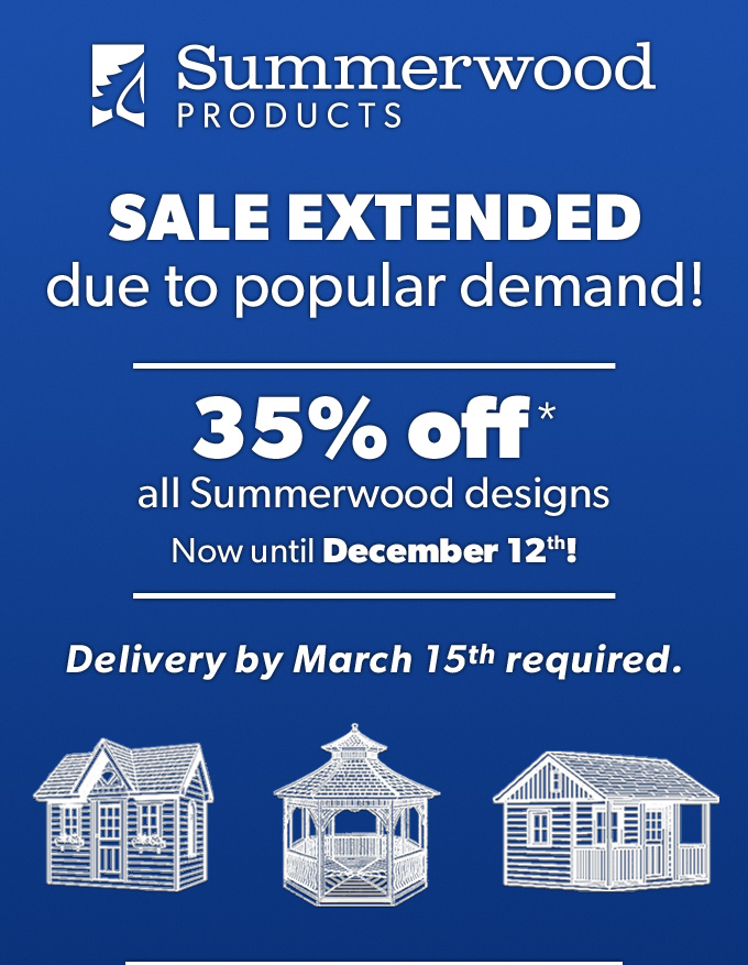 Summerwood Products Blue Firday Sale Save 35% on sheds garages cabins and more until December 4th