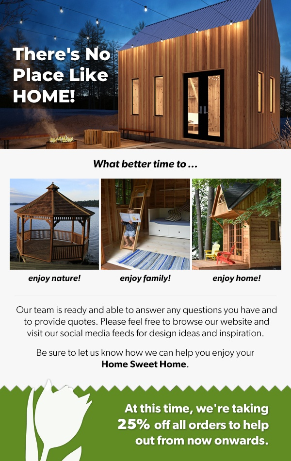Summerwood Products Home Sweet Home Sale 25% on all buildings