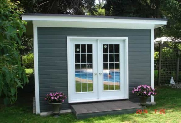 Modern and classic pool cabana kits get yours today for Garden pool sheds