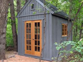 Cedar Telluride Shed 8x12 with French double doors in Winnipeg, Manitoba. ID number 104486.