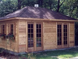 Cedar Sonoma shed 10x20 with French double doors in Toulminville, Alabama. Summerwood ID number 105.