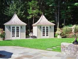 Canexel Melbourne backyard shed with curved double french doors in Stamford, Connecticut. ID number 1067.