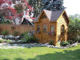 Copper Creek Garden Shed with rough cedar siding. Summerwood ID Number 10716