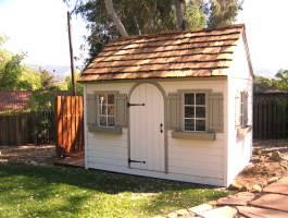 Cedar White Palmerston Shed 8x12 with arched door in Ojal, California. ID number 1113.