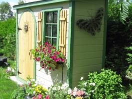 Canexel Sarawak shed 3x8 with arched single door in Nestleton, Ontario. ID number 115614.