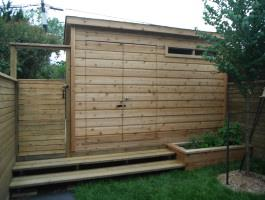 Cedar Sarawak shed 4x12 with concealed double doors in Toronto, Ontario. ID number 133451.
