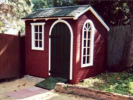 Bar Harbor red shed kit with cedar in Poughkeepsie, New York. ID number 1367.