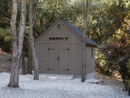 Cedar Telluride Shed 12x16 with double arched doors in Woodside, California. ID number 14038.