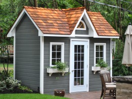 Custom Copper Creek grey shed with canexel granite in Toronto, Ontario. ID number 151929.