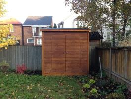 Cedar Sarawak shed 4x8 with concealed double doors in Toronto, Ontario. ID number 153236.