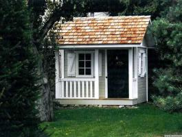 Peach Pickers Porch grey Playhouse with planed cedar Summerwood ID number 160.