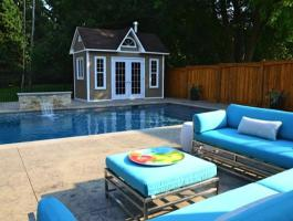 Copper Creek grey Prefab Pool House with canexel Summerwood ID number 174292.