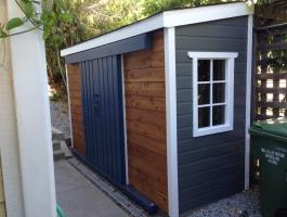 Cedar Sarawak shed 4x12 with sliding double doors in Mill Valley, California. ID number 178096.