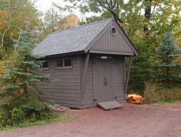 Cedar Telluride Shed 10x14 with double doors in La Pointe, Wisconsin. ID number 181860.