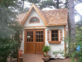 White Copper Creek garden shed 12x16 with 18-lite double deluxe doors in Pittsburgh, Pennsylvania. ID number 185206