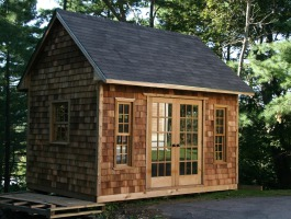 Stylish Copper Creek Garden Shed 10 x 14 with cedar shingle siding in Manchester Massachusetts. ID number 197745