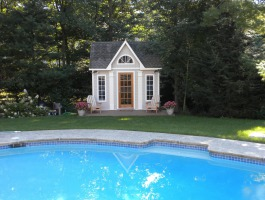 Copper Creek white Prefab Pool House with cedar Summerwood ID number 205913.
