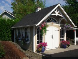 Canexel Telluride Shed 12x16 with extended shelter in Olympia, Washington. ID number 206905.