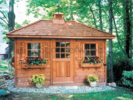 Cedar Sonoma Storage shed 9 x 12 with cedar shingles in Oakville, Ontario. ID number 210059