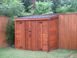 Cedar Sarawak shed 4x8 with standard double doors in Dallas, Texas. ID number 34661.