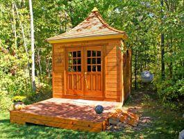 Cedar Melbourne Shed 10 x 10 with double arched doors in Traverse City, Missouri. ID number 42626.
