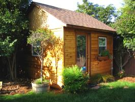 Cedar Palmerston shed 12x12 with single French door in El Cerrito, California. ID number 48196.
