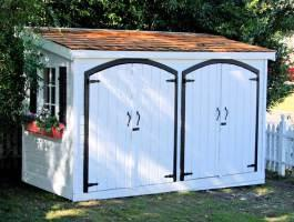 White Canexel Sarawak shed 5x12 with traditional flower boxes in Sherman Oaks, CA. ID number 5143.