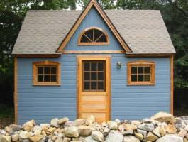 Telluride blue Shed 12x16 with dormer in Santa Barbara, California. ID number 524.