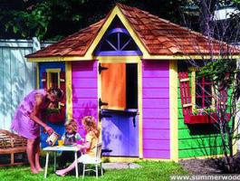 Petite Pentagon Playhouse idea with planed cedar Summerwood ID number 65.