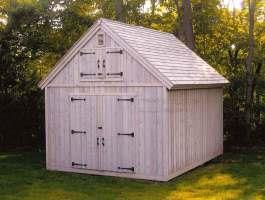 Cedar Telluride Shed 12x16 with workshop windows in Bedford, New York. ID number 984.