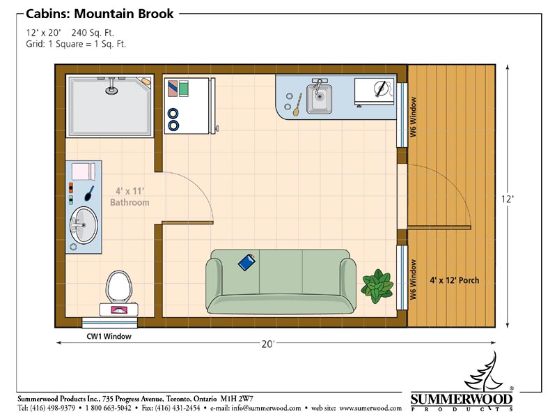 Floor plan for Small cabin plans with loft 10 x 20