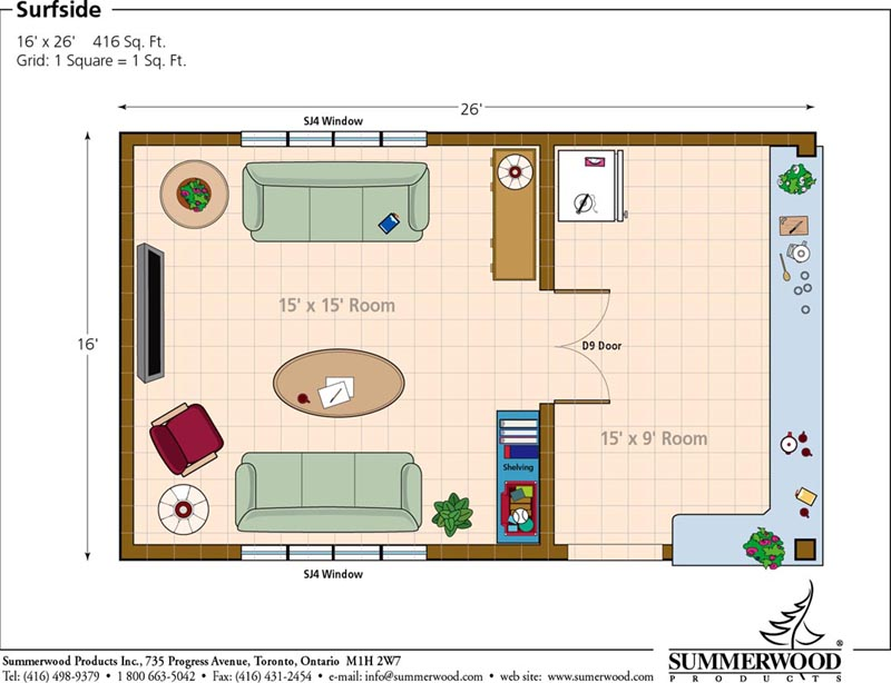 Floor plan for 10 x 16 living room layout