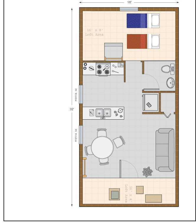 16X32 Cabin Floor Plan