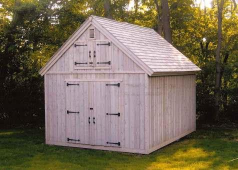 Cedar Telluride Shed 12x16 with workshop windows in Bedford, New York. ID number 984-1