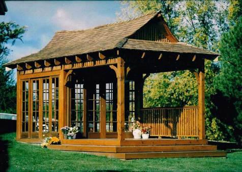 Bali tea house hot tub gazebo 10x20 with stained finish in Uxbidge ,Ontario.ID number 110-1.