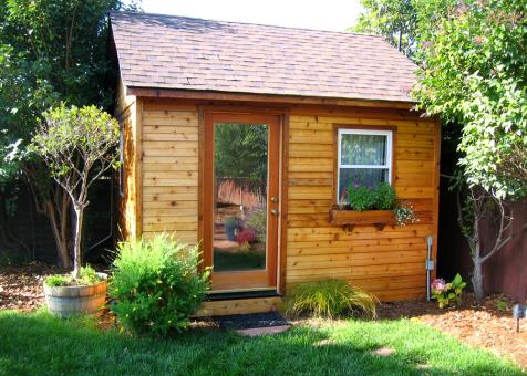 Cedar Palmerston shed 12x12 with single French door in El Cerrito, California. ID number 48196-1