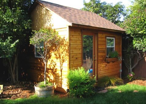 Cedar Palmerston shed 12x12 with single French door in El Cerrito, California. ID number 48196-2
