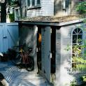 Cedar Sarawak shed 4x14 with double doors in Toronto, Ontario. ID number 132-1