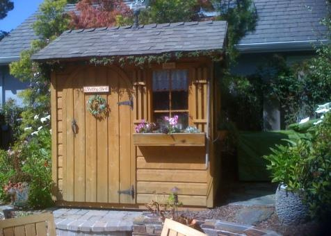 palmerston shed kit 5x7 with antique flower boxes in Carmel California. ID number 103027-2