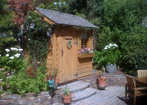 palmerston shed kit 5x7 with antique flower boxes in Carmel California. ID number 103027-3