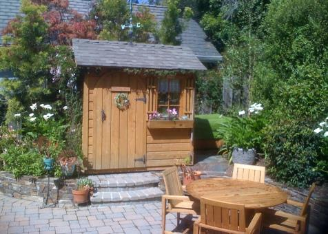 palmerston shed kit 5x7 with antique flower boxes in Carmel California. ID number 103027-1