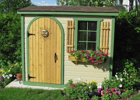 Canexel Sarawak shed 3x8 with arched single door in Nestleton, Ontario. ID number 115614-2