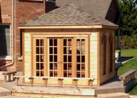 Soja spa enclosure 11x11 with pane arch window in Mississauga,Ontario.ID number 1309-4.