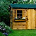 Cedar bar harbor garden shed 6x8 with arched single door in Kanata Ontairo. ID number 167.