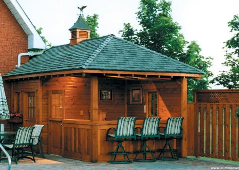 Surfside pool cabana 10x20 with roof shingles in Bradford Ontario. ID number 11303-1.