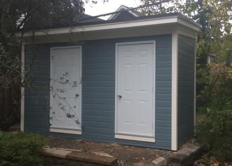 blue canexel urban studio shed 7x14 with metal vinyl doors in toronto ontario id - Garden Sheds 7 X 14