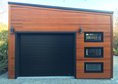 Urban garage garage design 16x20 with planed cedar channel for Garage plans ontario