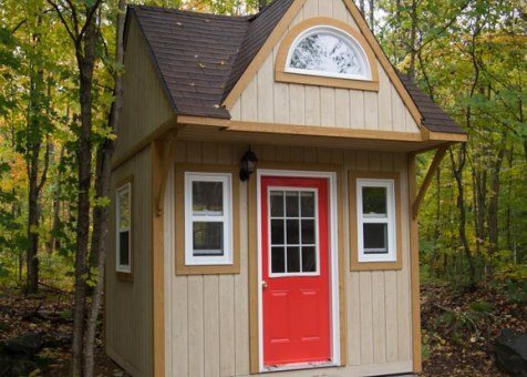 Prefab Bala bunkie 10 x 10 with rough cedar siding in Mckellar Ontario. ID number 194930-2