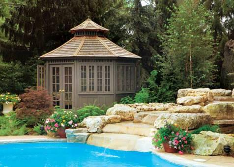 San cristobal pool house 12ft with double french doors in Mississauga Ontario. ID number 414-1.