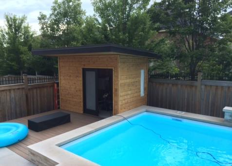 Verana pool cabana 7x12 with french double doorsin  Oakville Ontario. ID number 176695-4.